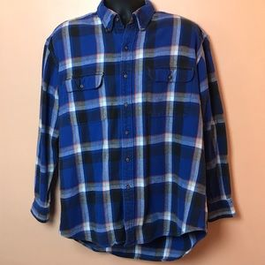 Britches Blue Black Orange Vintage Flannel Shirt L